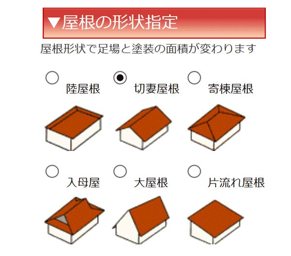 屋根の形状で屋根の塗装面積、外壁塗装面積及び足場面積が変わります